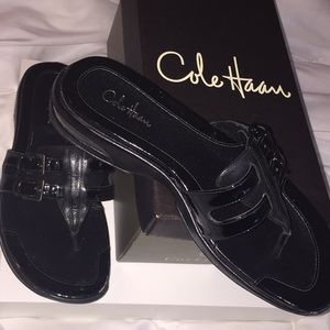 COLE HAAN NIKE AIR BLACK LEATHER SANDALS